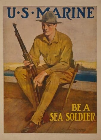 "American WW1 Poster- U.S Marine ""Be a Sea Solider"""