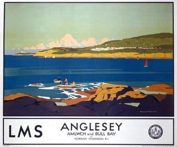 Anglesea, Amlwch & Bull Bay. Railway Travel Poster Print by Norman Wilkinson for LMS Railways