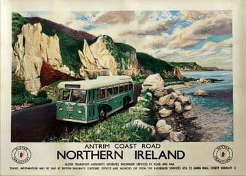 Antrim Coast Road, Northern Ireland. Vintage Ulster Transport Irish Travel poster, Norman Wilkinson