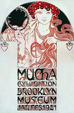Art Deco Poster Mucha Exhibition Brooklyn Museum
