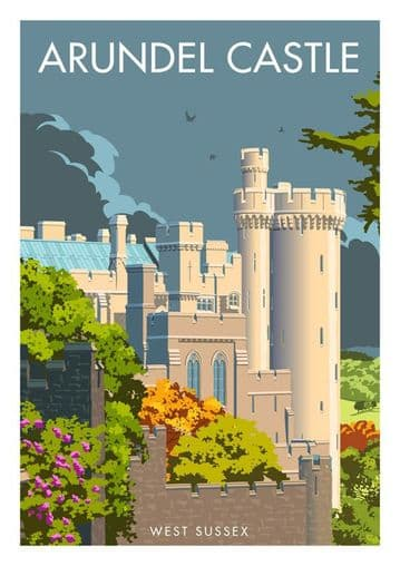 Arundel Castle overlooking River Arun West Sussex Vintage inspired Travel Poster Stephen Millership