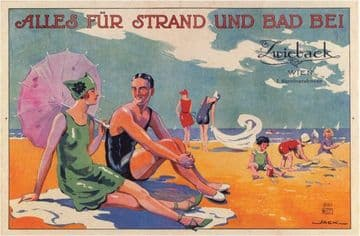 Austrian travel poster - Vienna beach