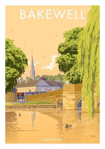 Bakewell, Derbyshire, English Vintage inspired poster by Stephen Millership