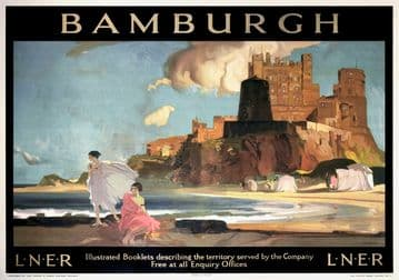 Bamburgh Castle, Northumberland. LNER Vintage Railway Travel poster by William Russell Flint. 1925
