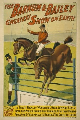 "Barnum and Bailey ""Greatest Show on Earth"" High Jump Poster 1898"