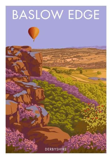 Baslow Edge, Derbyshire,  Peak District. English Vintage inspired poster by Stephen Millership