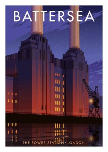 Battersea, The Power Station, London, Vintage inspired travel poster by Stephen Millership