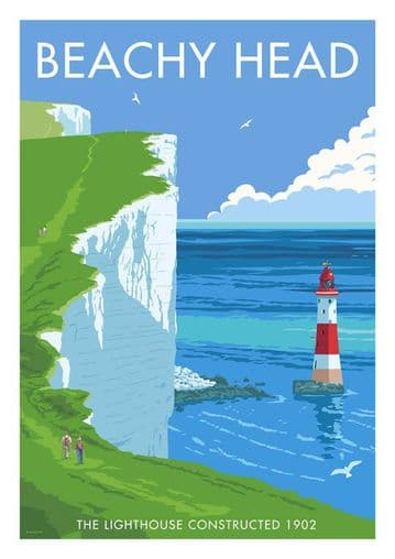 Beachy Head, Eastbourne, East Sussex, Southern England. Vintage inspired Travel Poster, Downlands