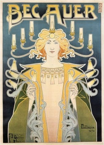 Bec Auer gas lamps - Belgian poster 1896