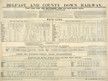 Belfast and County Down Railway Timetable Travel Poster