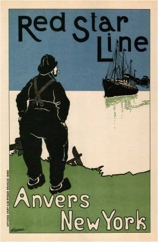 Belgian shipping poster - Anvers to New York