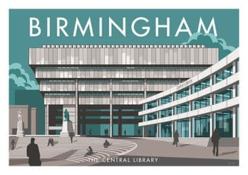 Birmingham, The Central Library, Vintage Inspired poster by Stephen Millership