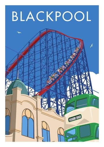Blackpool Pleasure Beach Vintage Inspired Travel Poster by Stephen Millership
