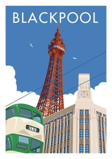 Blackpool Tower, Lancashire, Vintage Inspired Poster,  Stephen Millership