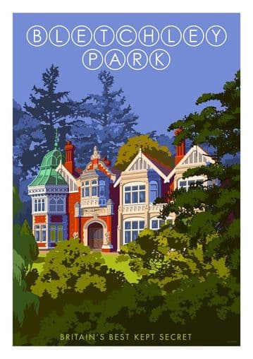 Bletchley Park, Britain's Best Kept Secret. Vintage inspired Travel Poster by Stephen Millership