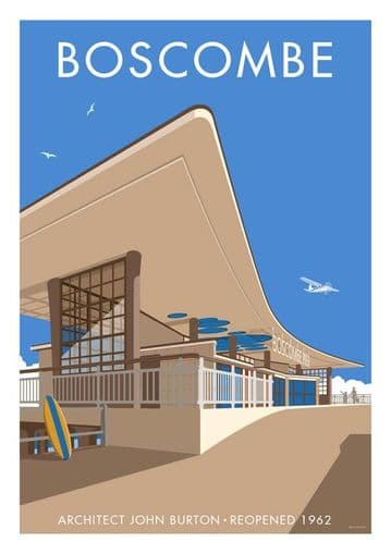 Boscombe Pier Architect John Burton Reopened 1962 Vintage Inspired  Poster by  Stephen Millership