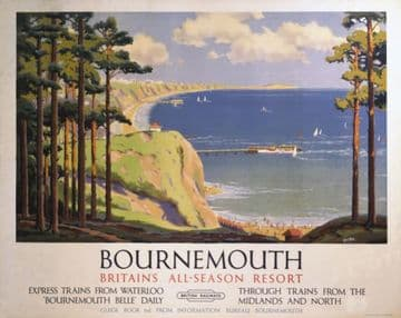 Bournemouth, Dorset. Britain's All Season Resort. Vintage BR Travel poster by Alker Tripp
