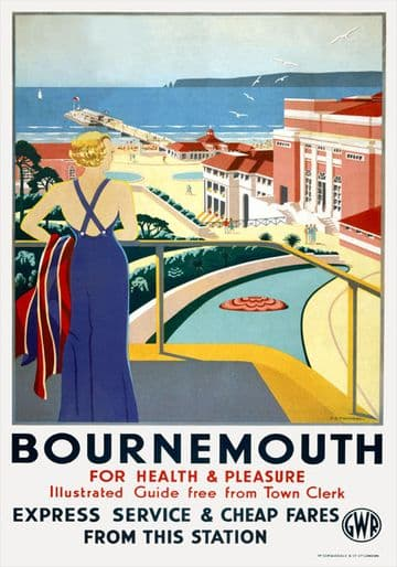Bournemouth, Dorset. For Health & Pleasure. GWR Vintage Travel Poster by G D Tidmarsh