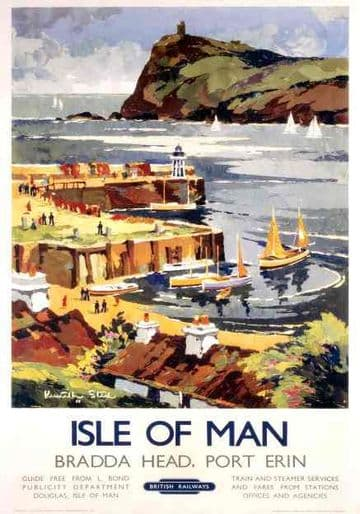 Bradda Head, Port Erin, Isle of Man. Vintage Railway Travel Poster by Kenneth Steel