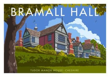 Bramall Hall Tudor Manor House- Cheshire. Vintage inspired poster by Stephen Millership