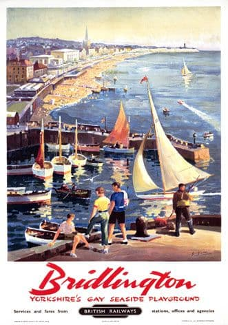 Bridlington British Railways  vintage travel poster by George Ayling 1958.