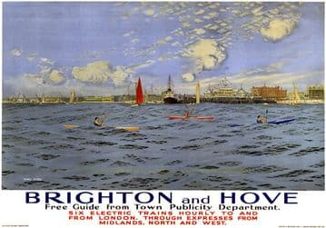 Brighton and Hove, Sussex. SR Vintage Travel Poster by Charles Pears. 1935