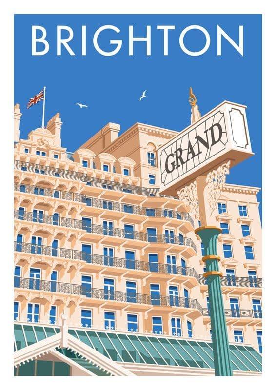 Brighton Grand Hotel, East Sussex, South England. Vintage inspired Travel Poster Stephen Millership
