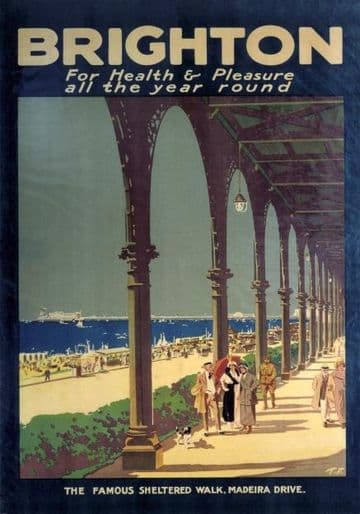 Brighton, Madeira Drive, Sussex. Vintage Travel Poster, 1920s.