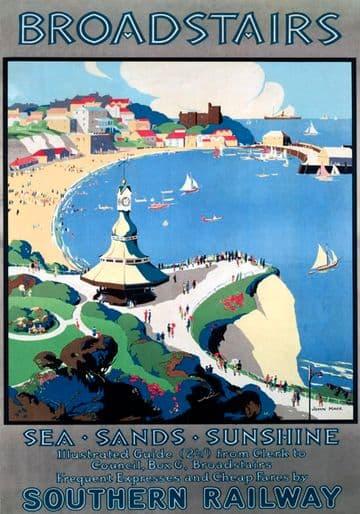 Broadstairs, Kent. Vintage SR Travel poster by John Mace. 1929