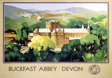 Buckfast Abbey, Devon. Vintage GWR Travel poster by Claude Buckle