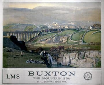 Buxton, English Railway Travel Art Poster Print, England, The Mountain Spa by LMS