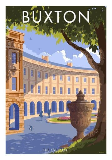 Buxton The Crescent,  Derbyshire. English Vintage inspired poster by Stephen Millership