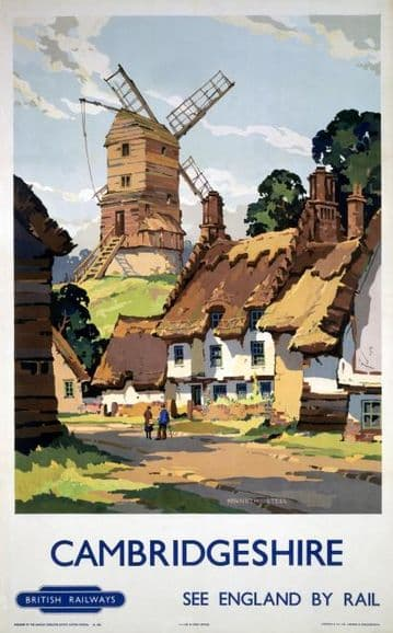 Cambridgeshire, England by Rail, Vintage Travel Poster Print