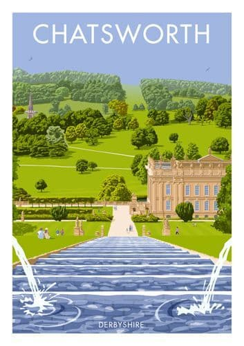 Chatsworth Derbyshire, Vintage inspired travel poster by  Stephen Millership