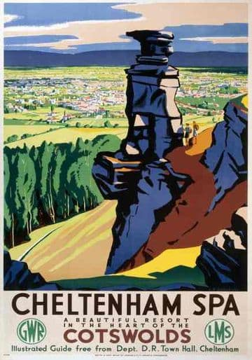 Cheltenham Spa, Vintage Railway Travel Poster Print by LMS (London Midland & Scottish) and GWR