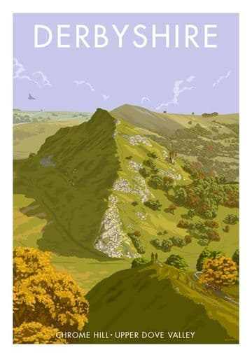 Chrome Hill, Upper Dove Valley,  Derbyshire. English Vintage inspired poster by Stephen Millership