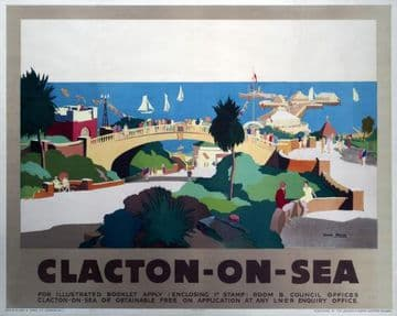 Clacton-On-Sea, Essex.  Vintage LNER Travel Poster by John Mace