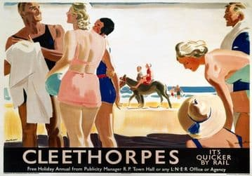 Cleethorpes, Lincolnshire, LNER Railway Travel Poster Print, It's Quicker by Rail