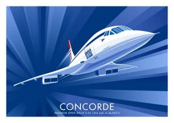 Concorde Vintage inspired British Airways Airline poster by  Stephen Millership