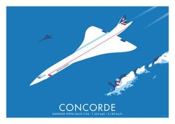 Concorde Vintage inspired British Airways Airline poster by  Stephen Millership  (2)