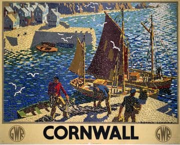 Cornwall. Vintage Great Western Railway Travel poster by Ronald Lampitt