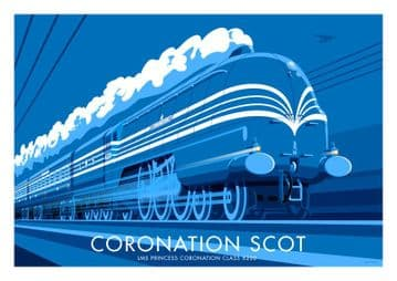 Coronation Scot vintage inspired LMS railway train  poster by  Stephen Millership