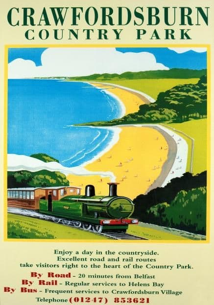 Crawfordsburn Country Park & Belfast Lough Railway Travel Poster, County Down, Northern Ireland