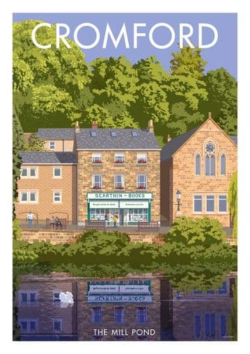 Cromford, The Mill Pond, Scarthin  Books, Derbyshire. English Vintage inspired poster by Millership