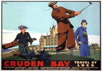 Cruden Bay, Golfing, Aberdeenshire. Vintage LNER Travel Poster by Frank Newbould. 1935
