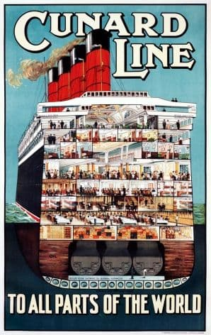 Cunard Line To All Parts of the World Vintage Travel Shipping poster