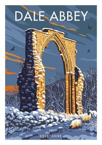 Dale Abbey, Derbyshire, Vintage inspired poster, Stephen Millership