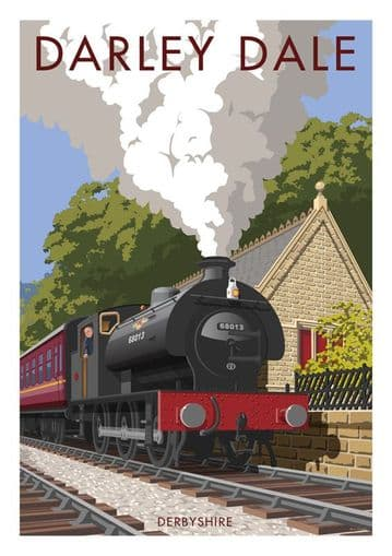 Darley Dale, Derbyshire. English Vintage inspired train & railway poster by Millership