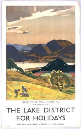Derwentwater from Keswick Hill, Lake District, Cumbria. Vintage LMS Travel poster by Algernon M Talmage