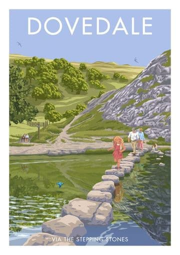 Dovedale, Peak District , Derbyshire via the stepping stones. English Vintage inspired travel poster